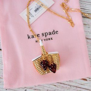 NWT Kate Spade Strawberries Basket Long Necklace